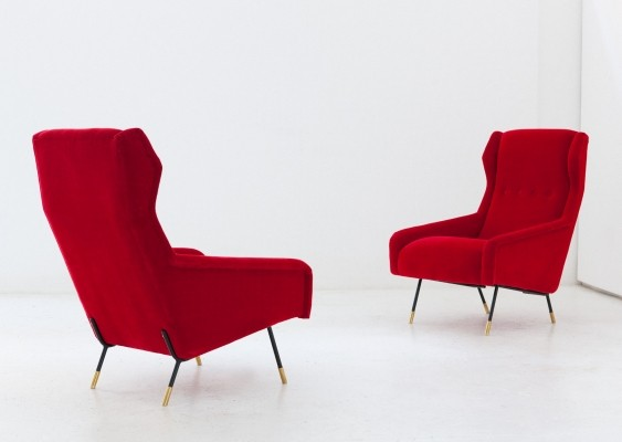Italian iron brass & new red velvet lounge chairs, 1950s