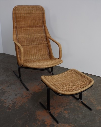 Cane 'Model 514' lounge Chair & footstool by Dirk van Sliedregt