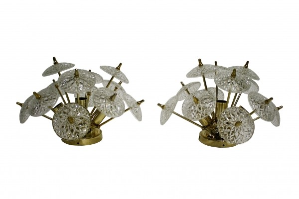 Pair of Crystal sputnik wall lights or flush mount lights, 1960s
