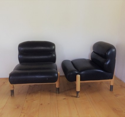 Pair of 2 unique lounge chairs, 1960's