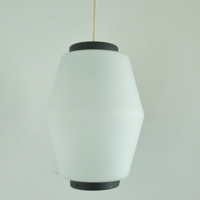Danish imported opaline glass pendant lamp with grey/blue details