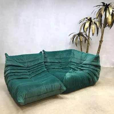 Velvet Togo sofa by Michel Ducaroy for Ligne Roset, 1970s