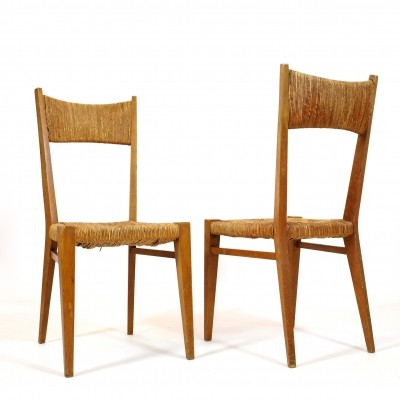 Pair of chairs with straw seats & backs, 1960-1970