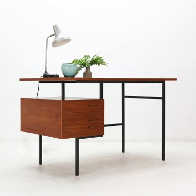 Mid-Century Modern Teak Desk with Steel Base, 1960s