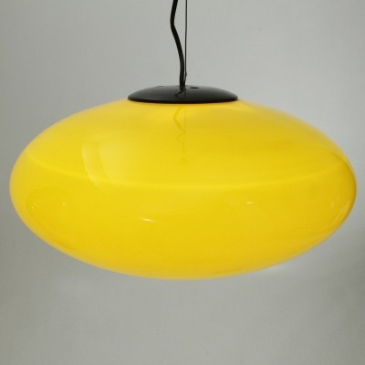 Italian yellow glass pendant lamp, 1960s