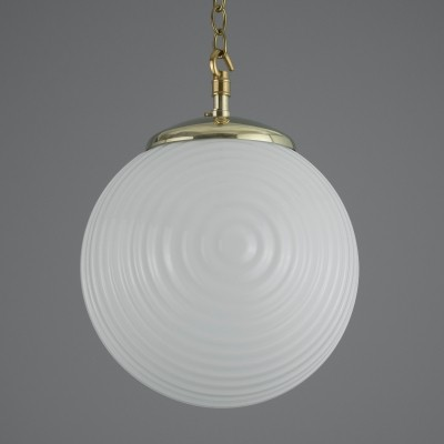 Retro opaline pendant light with brass gallery