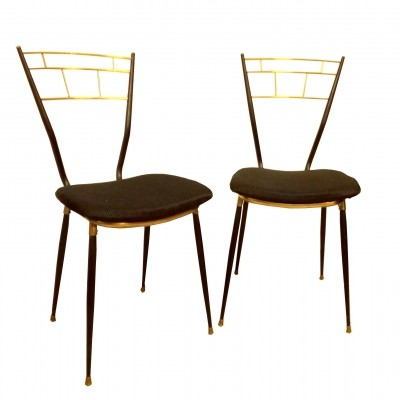 Pair of black metal & brass chairs, 1950s