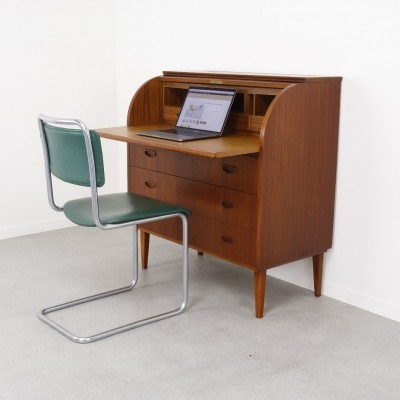 Teak rol-top secretary desk by Egon Ostergaard, 1960s