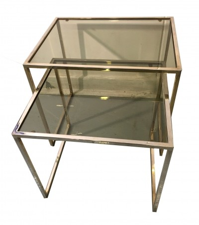 Pair of golden metal nesting tables