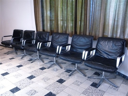 Set of 6 Wilkhahn 2000 Dining & Conference Leather Chairs by Delta Design, 1968