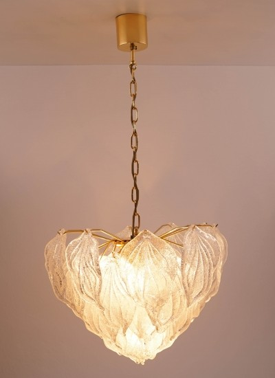 Murano Glass Leaf Chandelier by Novaresi