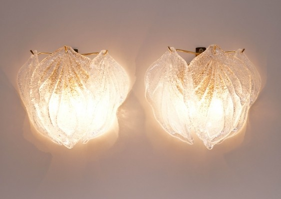Murano Glass Leaf Sconces by Novaresi