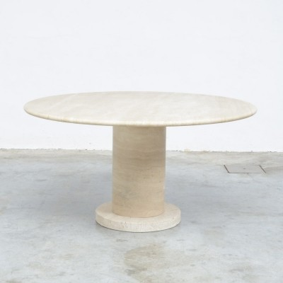 1970 Round Travertine Dining Table