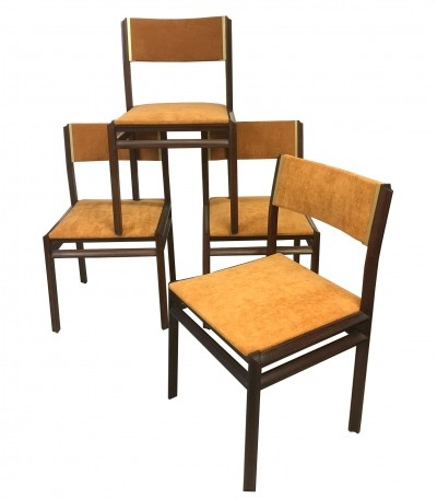 Set of Four Rosewood 'Domino' Dining Chairs by Stildomus, Italy 1960s