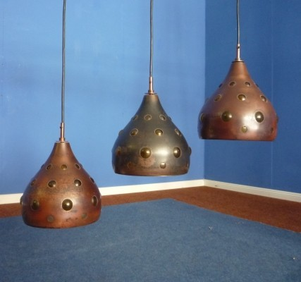 Brutalist Copper Lamps by Nanny Still for Raak, 1960s