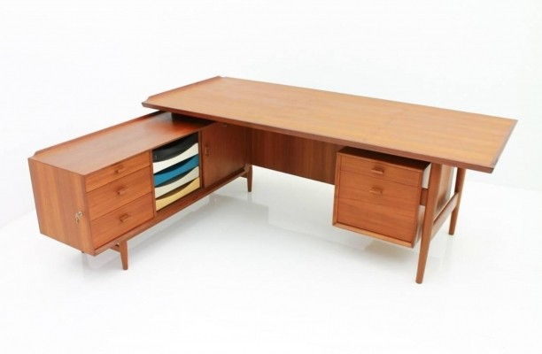 Teak Writing Desk with Sideboard by Arne Vodder for Sibast