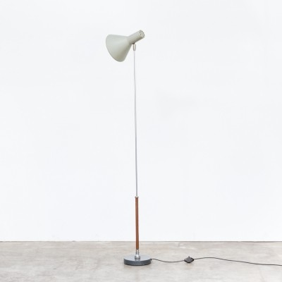 Rare bendable floorlamp in leather, chrome & metal, 1960s