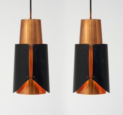 Pair of Østerport hanging lamps by Bent Karlby for Lyfa, 1960s
