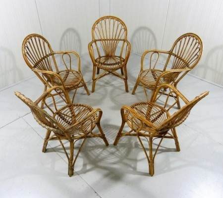 Set of 5 vintage arm chairs, 1950s