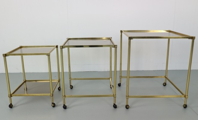 Set of 3 Midcentury French Brass Nesting Tables with Glass Top