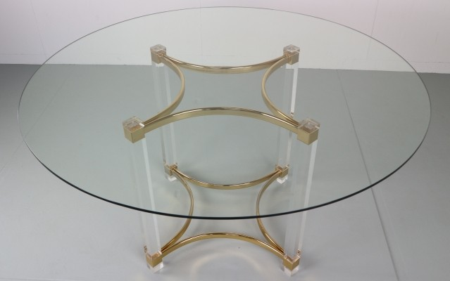 Alessandro Albrizzi Lucite, Brass & Glass Dining Table, 1970s