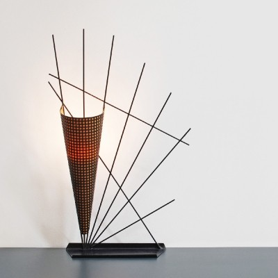 Perforated metal desk lamp, France 1950s