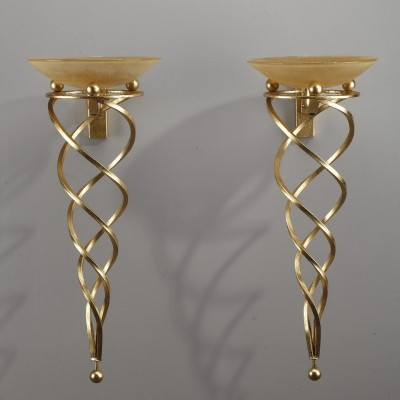 Pair of Antinea Terzani Gold Wall Sconces by Jean François Crochet