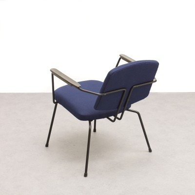 Rudolf Wolf 'Model 5003' easy chair with dark blue Ploeg fabric