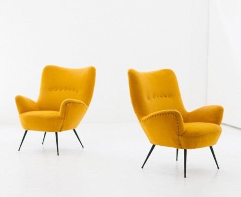 Pair of Italian high back yellow lounge chairs, 1950s