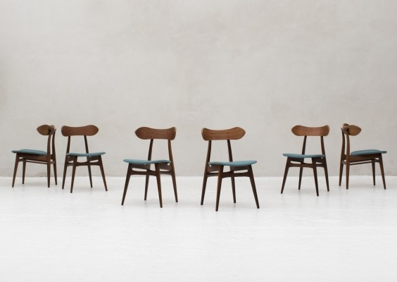 6 dining chairs by Louis Van Teeffelen for Wébé, Dutch design 1960