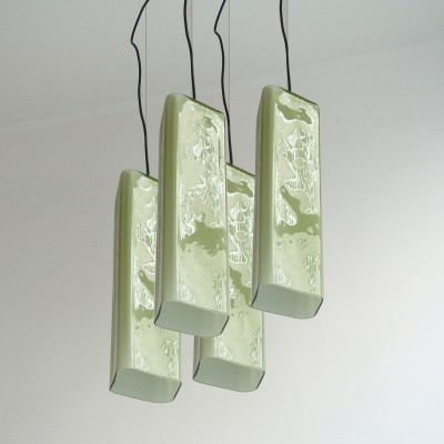 Set of 4 Vistosi hanging lamps, 1950s