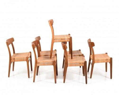 Early set of seven CH23 Chairs by Hans J. Wegner for Carl Hansen & Son Denmark