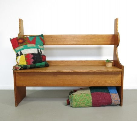 Pine hall bench with storage, 1960s