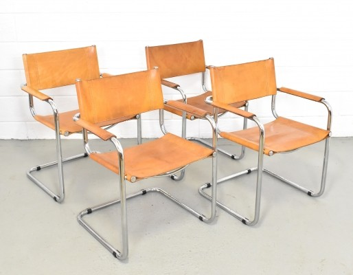 Set of 4 S34 dinner chairs by Mart Stam for Fasem, 1970s