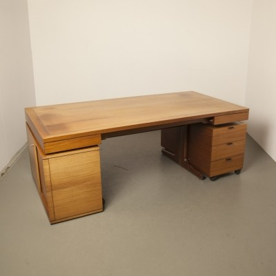 Director's desk in teak with aluminum accent stripe