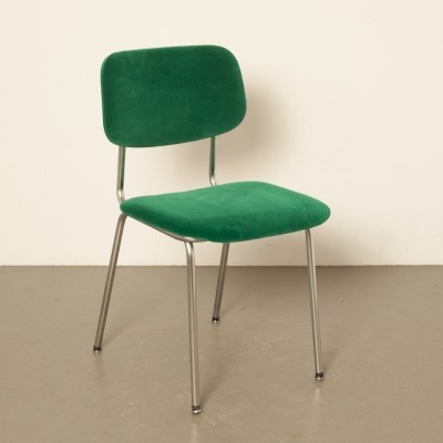 Gispen Bent Chrome-Tube chair 'Model 1231' in toxic green velour