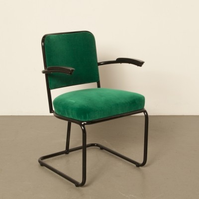 Old tubular-chair with new toxic green upholstery