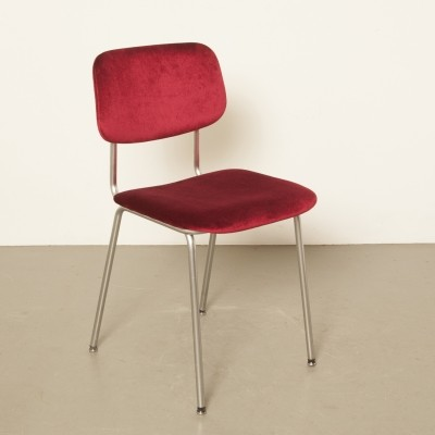 Gispen Bent Chrome-Tube chair 'Model 1231' red velour