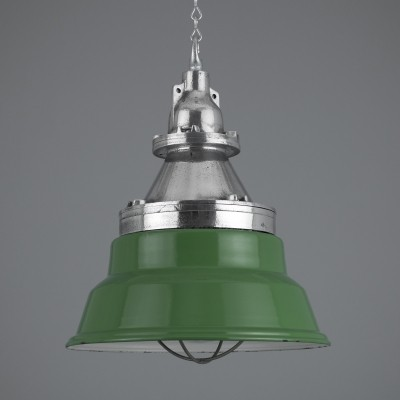 Green enamel Munitions store lights by Heyes