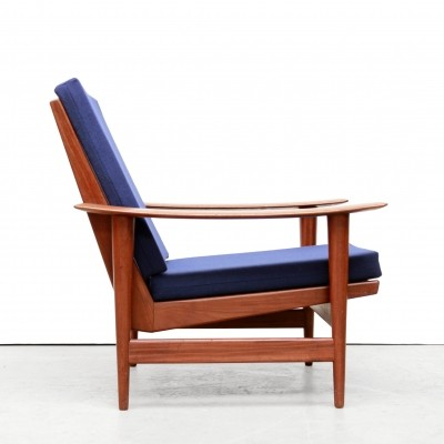 Set of Two teak Scandinavian armchairs with blue upholstery
