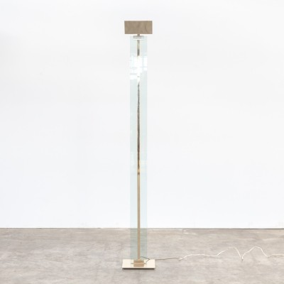 Mauro Martini glass & brass floorlamp for Fratelli Martini, 1970s