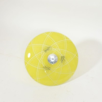 Yellow ceiling lamp with printed glass, 1960s