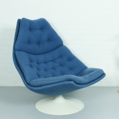 F588 Swivel Lounge Chair in Blue by Geoffrey Harcourt for Artifort, 1960