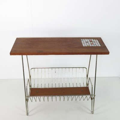 Small Teak magazine table with tiles on top, ca 1960