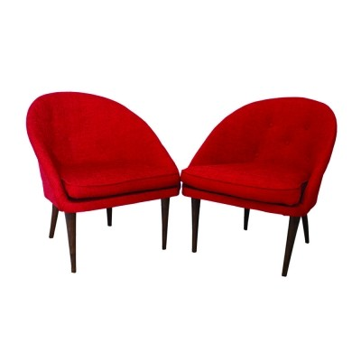 Exquisite pair of Italian cocktail shell armchairs, 1960s
