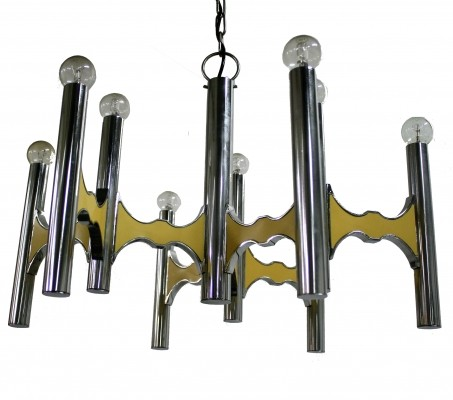Heavy chrome Sciolari chandelier with beige lacquer, 1970s