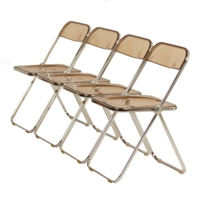 Set of 4 Plia folding Chairs by Giancarlo Piretti for Castelli, 1960s