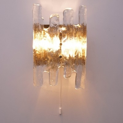 Vintage Ice Glass Wall Light by Kalmar