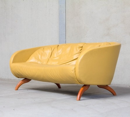 Yellow leather sofa by Sitting Vision, the Netherlands