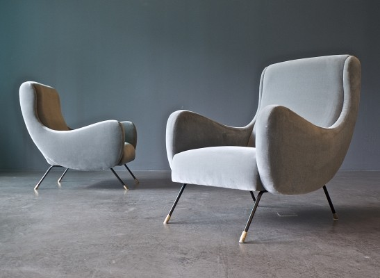 Pair of Saporiti lounge chairs, 1960s